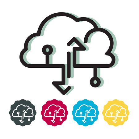 Cloud Technology Upload Download Data Icon as EPS 10 File 일러스트