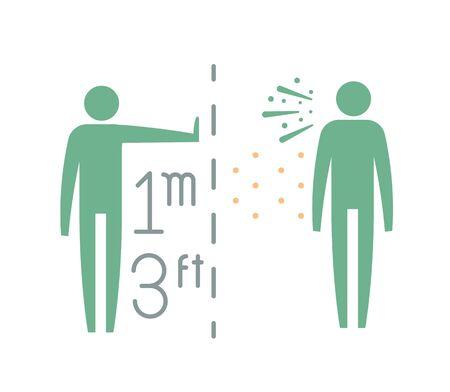 Maintain Safe Distance 1 Meter - Icon as EPS 10 File Ilustración de vector