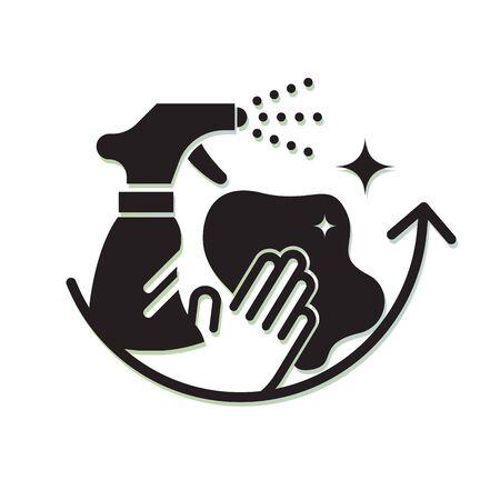 Umfassende Oberflächenreinigung - Schutzmaßnahmen - Icon als EPS 10-Datei