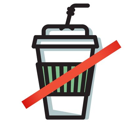 Say No to Plastic Disposable Cup - Icon as EPS 10 File