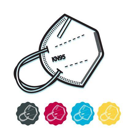Respiratory Protective Mask - KN95 - Icon as File Ilustración de vector