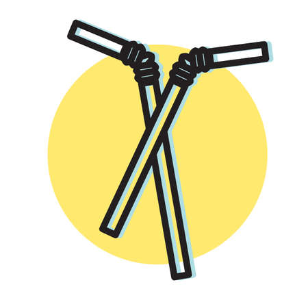 Plastic Disposable Straw - Icon Illustration
