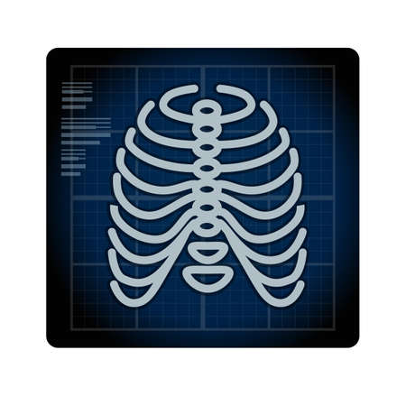 X-Ray Ribcage with Pelvic Bone - Icon as EPS 10 File