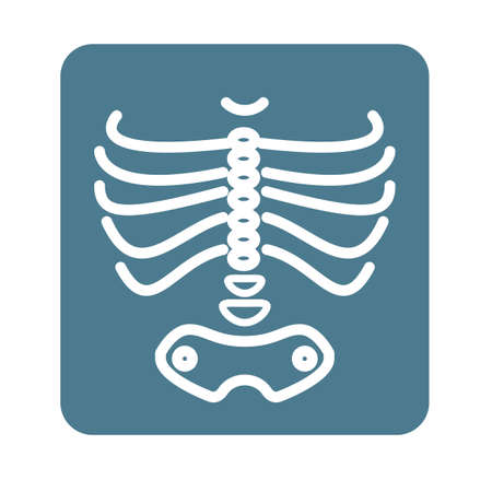 X-Ray Ribcage with Pelvic Bone - Icon as EPS 10 File Vectores