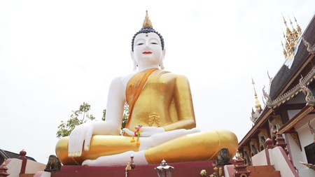 Big white buddha in thailand photo