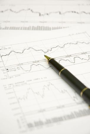 stock graphs and pen Stock Photo - 271266