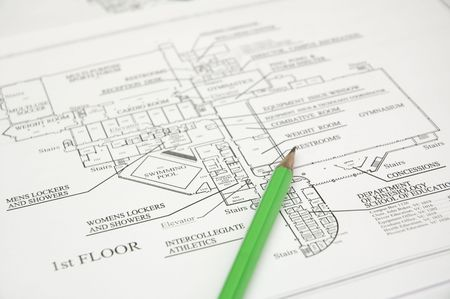 architectural studies: architectural plan  and green pencil