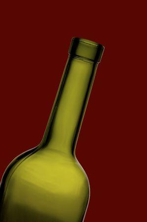 wine bottle neck against bordeaux background photo