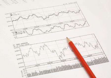 makelaardij: voorraad grafieken en rood potlood Stockfoto