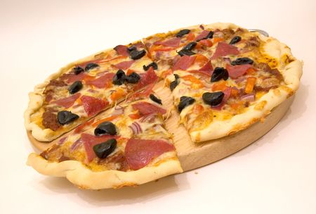 fresh sliced pizza