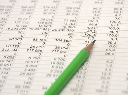 brokerage: financial figures and green pencil Stock Photo