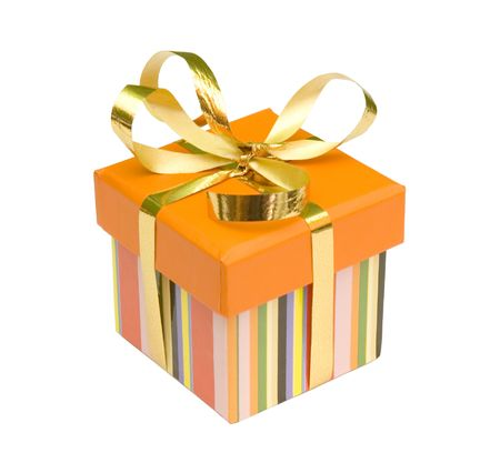 giftbox with golden ribbon photo