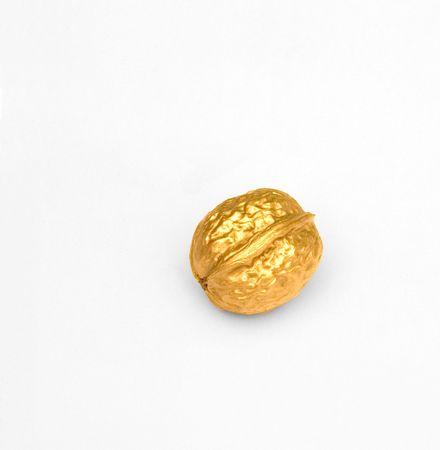 christmas profits: golden walnut isolated