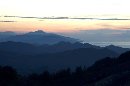 sunrise in mountains, flores, indonesia