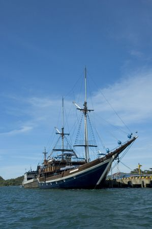 sailing ship at a pier Stock Photo