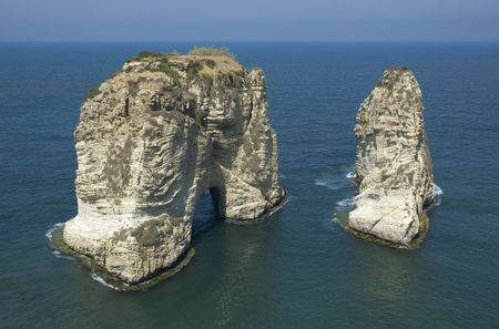 pigeon rock - symbol of beirut, lebanon photo