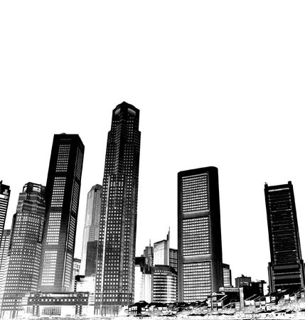 condominium: cityscape - black and white Stock Photo