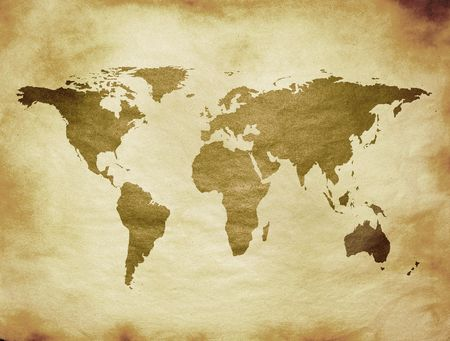 world map on aged paper Stock Photo