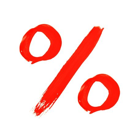 write off: brush painted percentage symbol Stock Photo