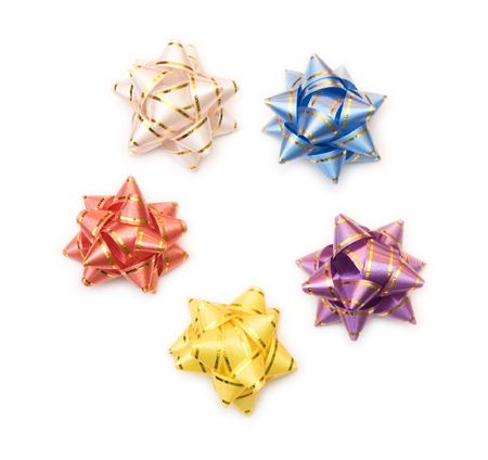 gift decoration - five bows of different color