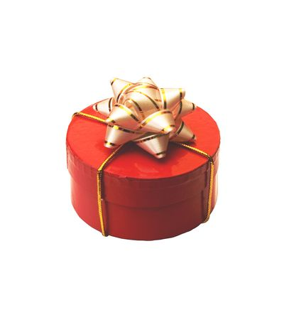 xmass: red giftbox with white bow