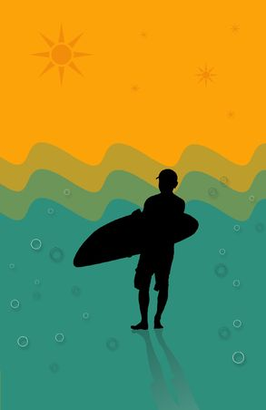 silhouette of surfer photo