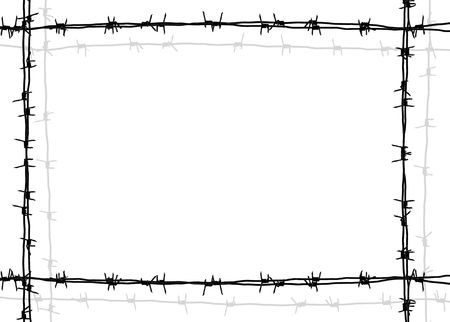 barbed wire frame with white background photo