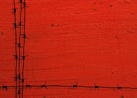barbed wire frame with red grunge background photo