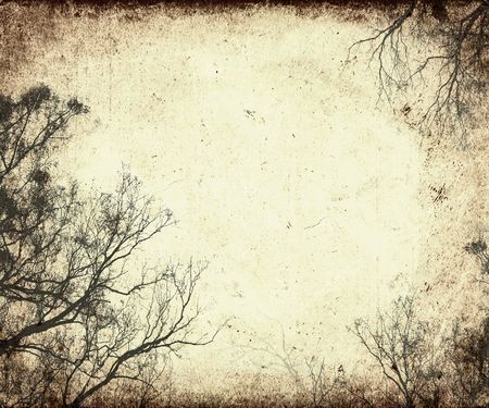 grunge frame with tree silhouettes Stock Photo - 365531