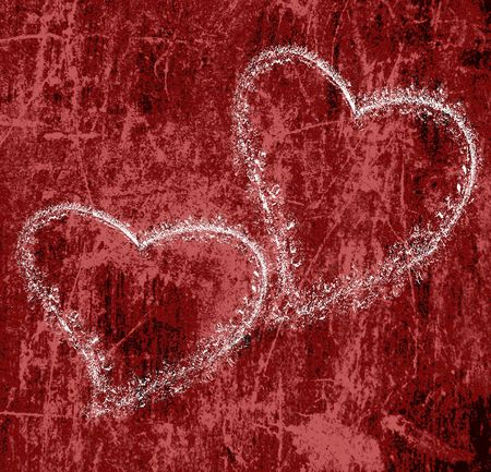 two hearts on red grunge background photo