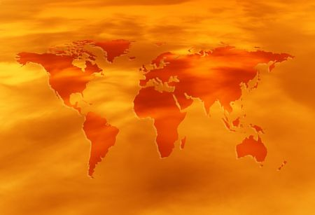 diabolical: red-hot map of the world Stock Photo