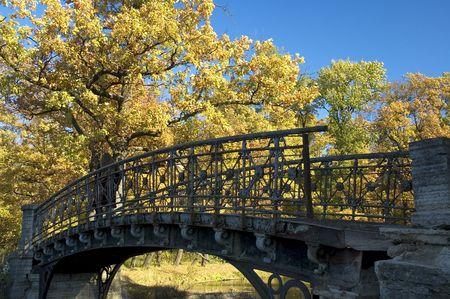 eastern philosophy: old bridge in autumn park