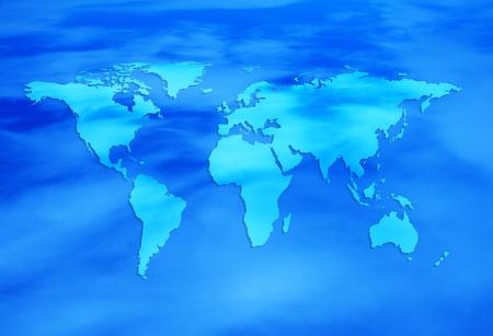 diabolical: blue map of the world Stock Photo