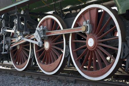 wheels of vintage steam train photo