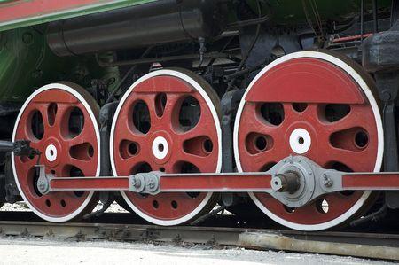 railtrack: wheels of retro steam train Stock Photo