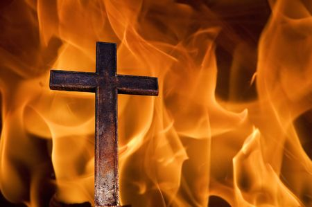 infernal: cross on fire Stock Photo