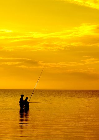 sunset fishing Stock Photo - 483098