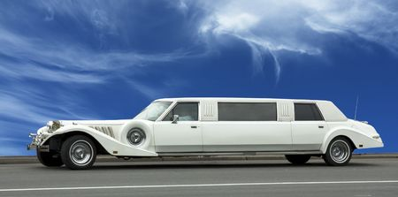 wedding limousine over blue sky Stock Photo - 498889