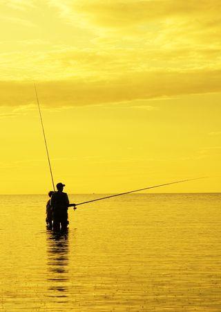sunset fishing Stock Photo - 521376