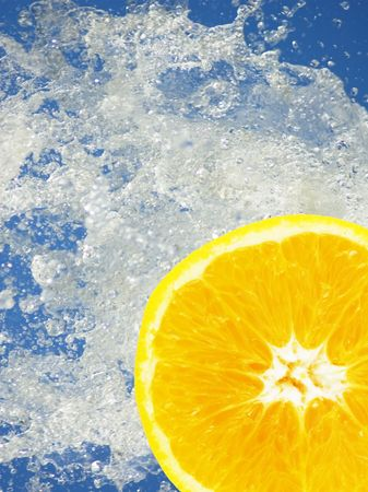 bubble acid: orange slice in the water Stock Photo