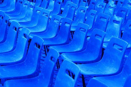 aisles: blue seats Stock Photo