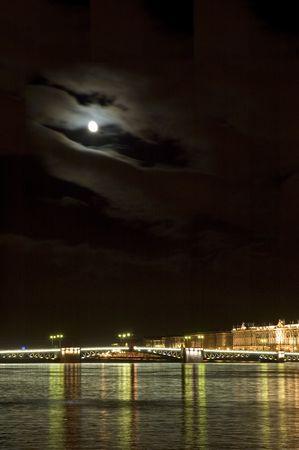Night bridge, Saint Petersburg, Russia Stock Photo - 611342