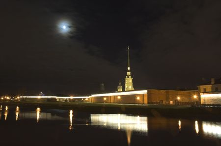 Peter and Paul fortress at night, Saint Petersburg, Russia photo