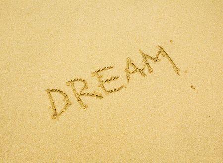 dream written in the golden sand Stock Photo - 735305