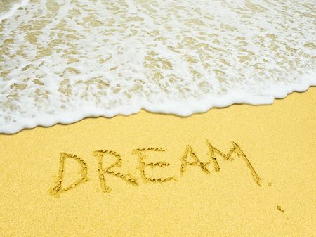 holiday dreams written in the sandy beach Stock Photo - 897082