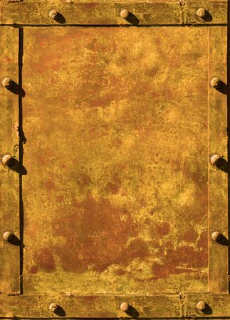 rusty metal texture: riveted grunge background with space for text Stock Photo