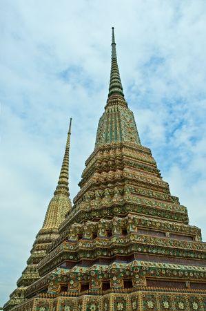 stupas: Stupas in Wat Phra Kaew, Bangkok, Thailand Stock Photo
