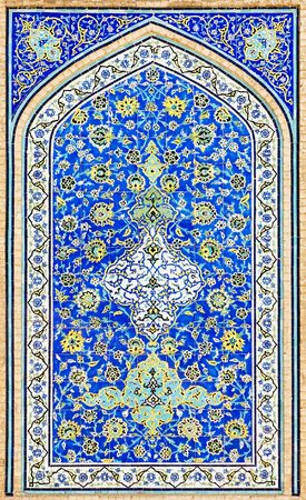 iran: tiled background, oriental ornaments from Isfahan Mosque, Iran Stock Photo