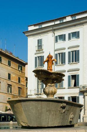 condos: Fountain at Piazza Farnese, Rome, italy Stock Photo