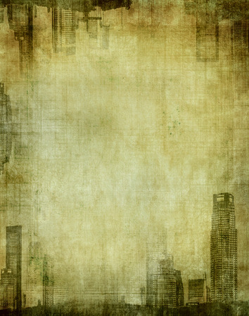 down town: grunge city - textured frame with cityscape Stock Photo